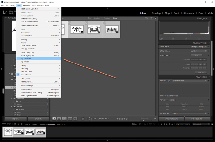 a screenshot showing how to flip multiple images in Lightroom