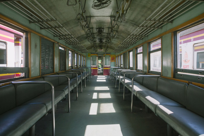 The interior of a train demonstrating geometric photography