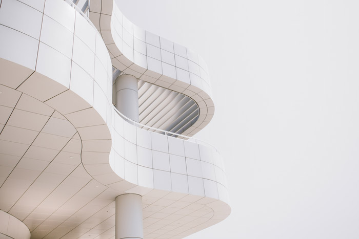 Detail of a modernist architectural building of geometric shapes