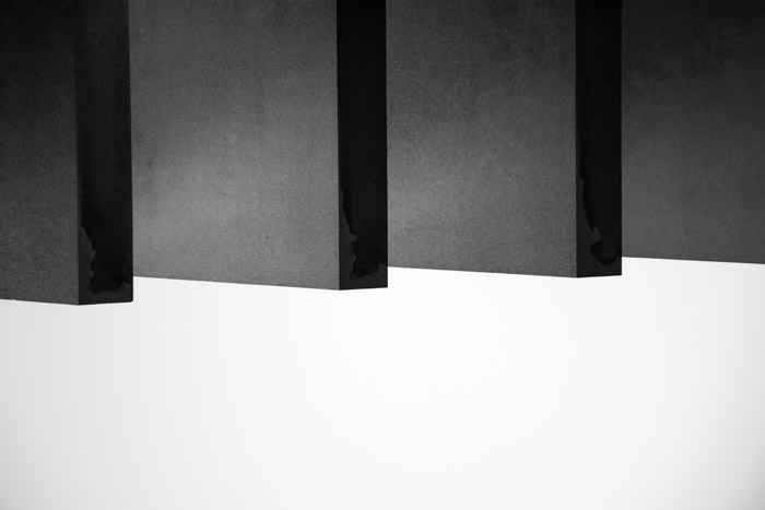 Abstract view of geometric shapes in black and white