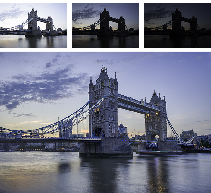 Four photo grid of a city bridge , enhanced with free hdr software