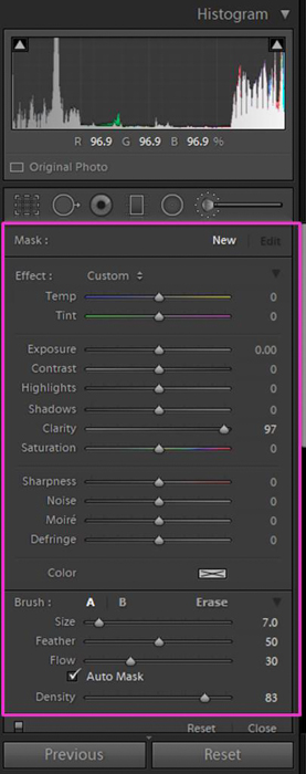 A screenshot showing how to find the Lightroom Adjustment Brush Tool
