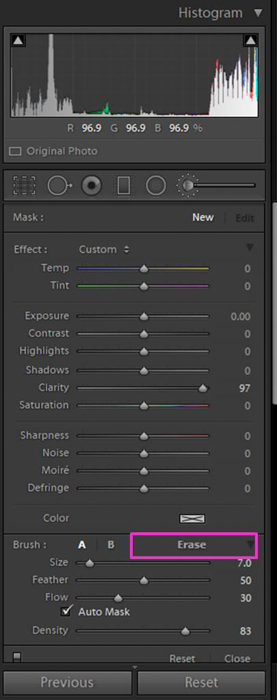 A screenshot showing how to use the Lightroom Adjustment Brush Tool - eraser option