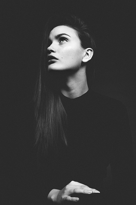 atmospheric monochrome portrait of a female model