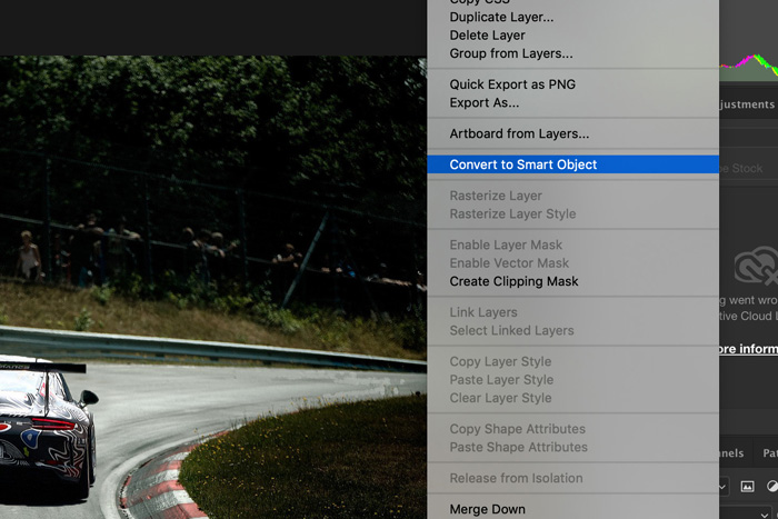 a screenshot showing how to add motion blur in Photoshop - convert to smart object