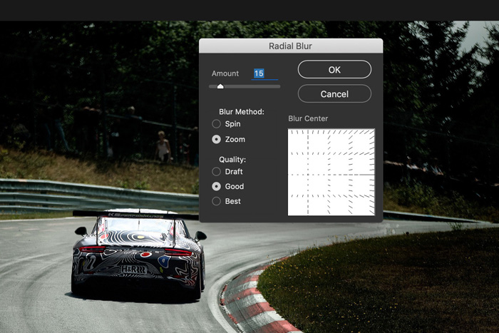 a screenshot showing how to add motion blur in Photoshop - radial blur