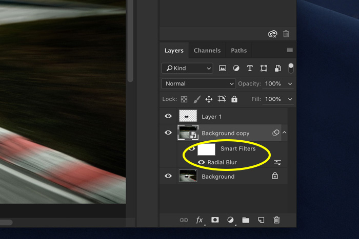 a screenshot showing how to add motion blur in Photoshop - smart filters