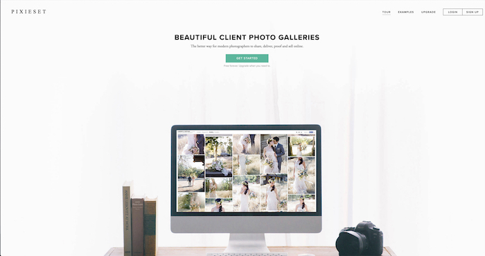 screenshot of the pixieset website for sharing photos with clients