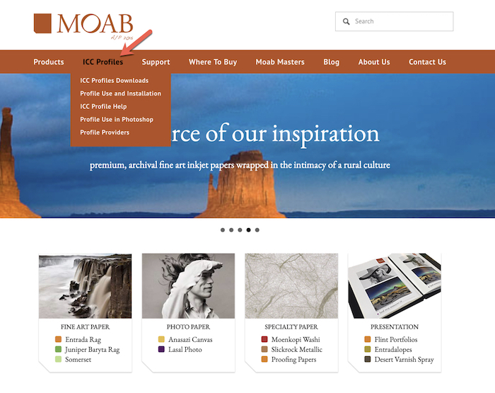 a screenshot from moab website - how to print photos professionally