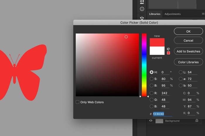 A screenshot showing how to change color of custom Photoshop shapes