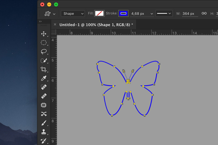 A screenshot showing how to create an outlined shape in photoshop