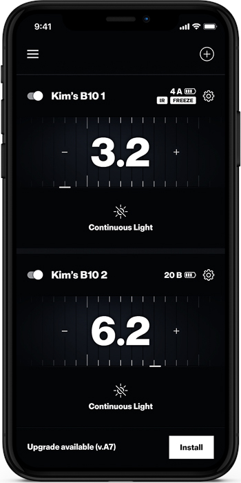 the Profoto b10 flash smartphone app