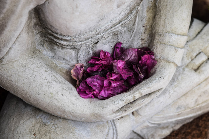 purple flowers collected in the arms of a stone statue - symbolism in photography