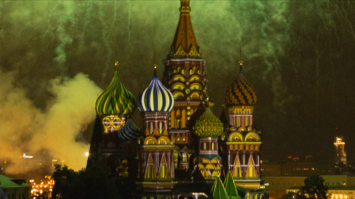 fireworks over St. Basil's Cathedral in Moscow