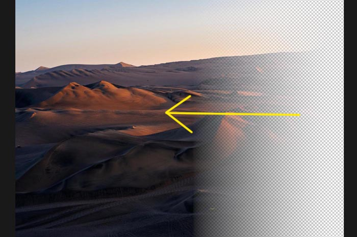 a screenshot showing how to create a transparent gradient in Photoshop
