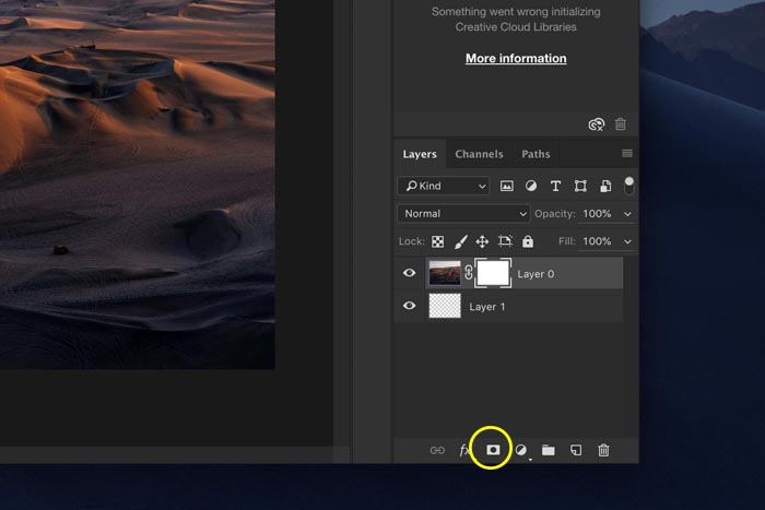 a screenshot showing how to create a transparent gradient in Photoshop - add layer mask