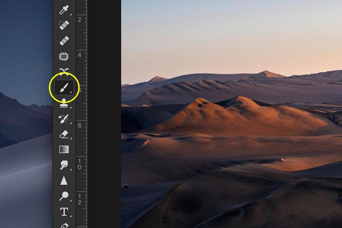 a screenshot showing how to create a transparent gradient in Photoshop - paint brush tool