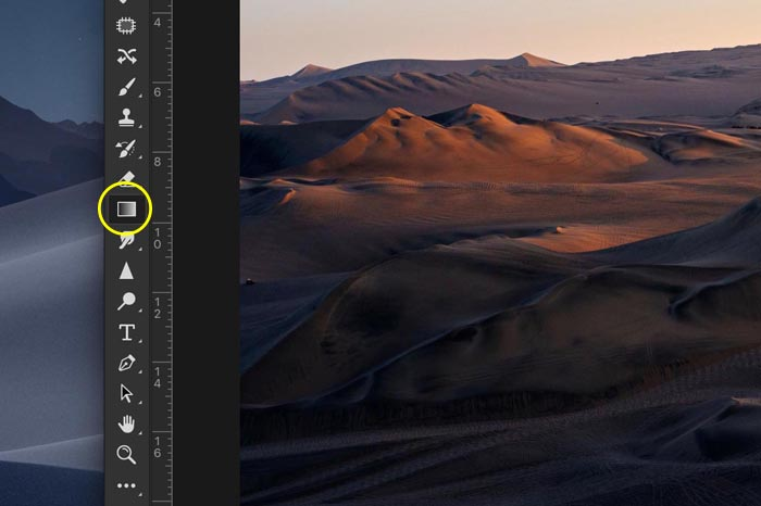 a screenshot showing how to create a transparent gradient in Photoshop - gradient tool