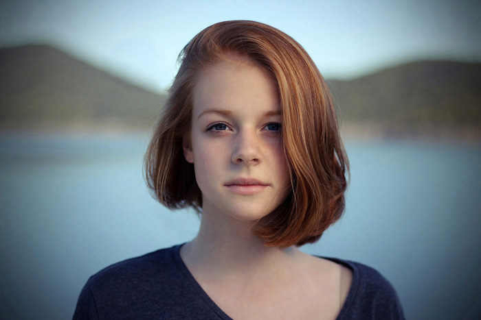 a portrait of a female model with vignetting in the corners