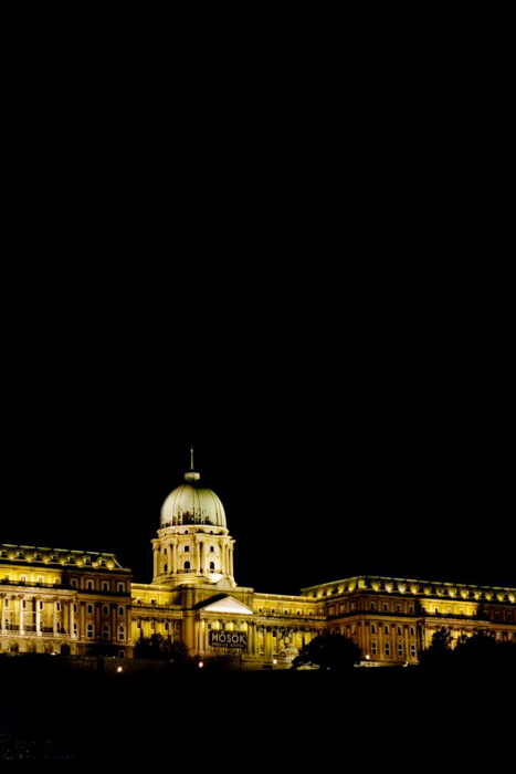 a night shot of architecture in Budapest, Hungary