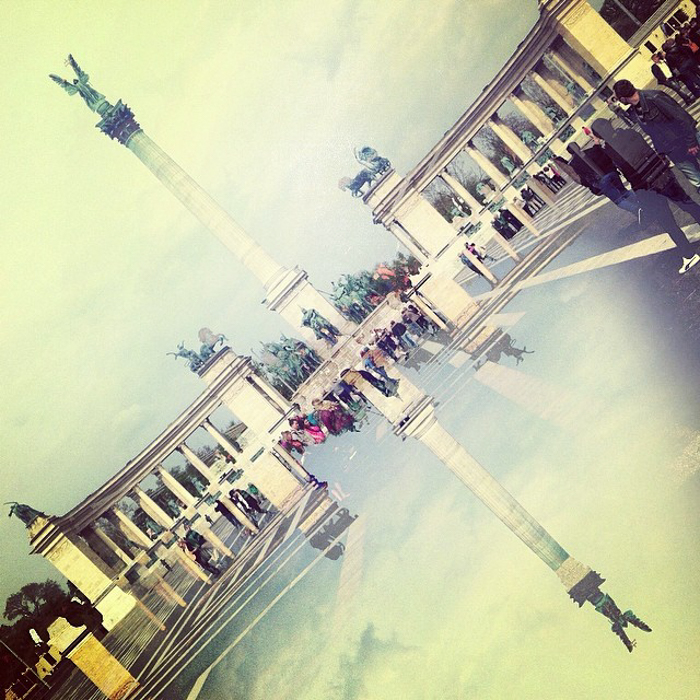 a cool double exposure of Heroes Square & Andrássy út in Budapest