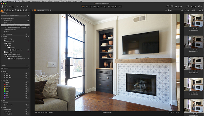 Screenshot of Capture One library tab