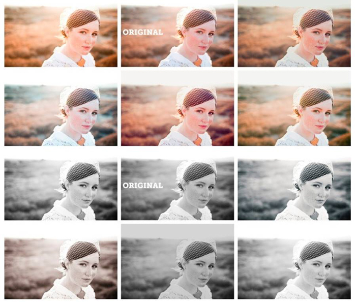 A montage of the same photo of a woman in different lightroom presets, super preset sample pack