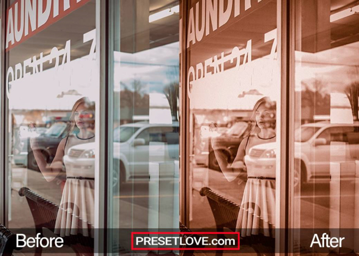 Photo of a woman standing at the window of a laundry shop in orginal and in antique bronze preset