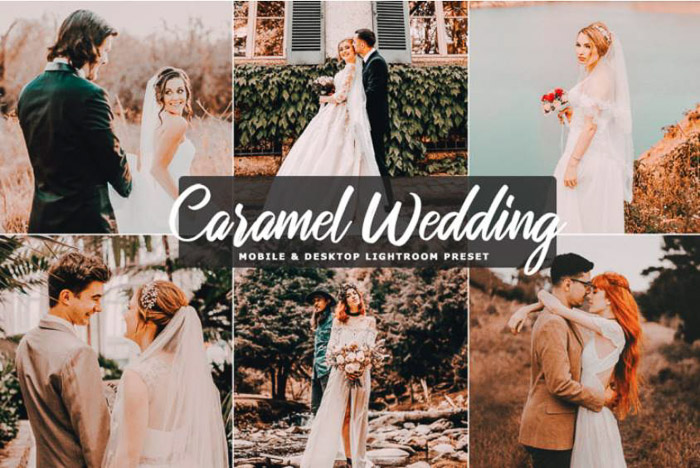 A montage of wedding photos edited with caramel wedding free lightroom presets