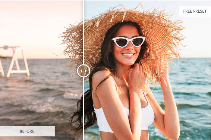 Photo of a girl at the beach sun flares preset