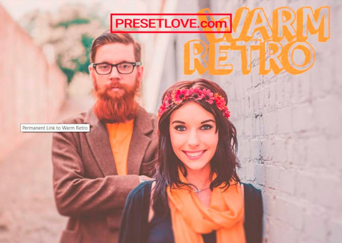 Photo of a woman with a bearded man behind her and a text in the upper right corner warm retro preset