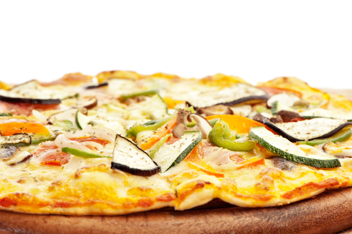 Close-up photo of a pizza on a plate