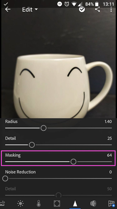 Screenshot of photo editing app Lightroom