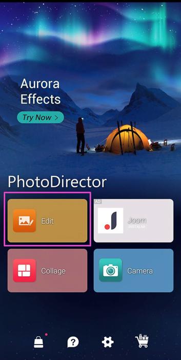 Screenshot of photo editing app PhotoDirector