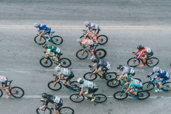 An overhead view of cyclists in a race