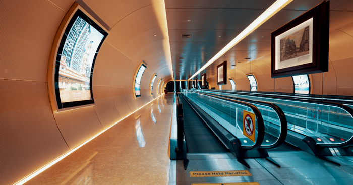 A modern corridor with moving walkways