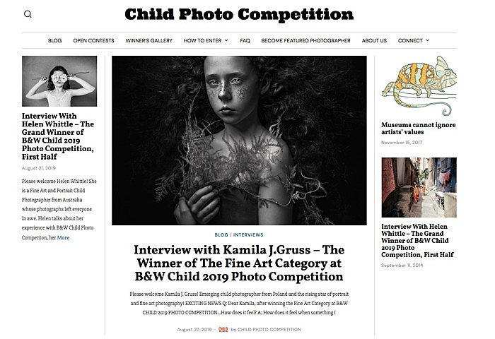 Screenshot of the website Child Photo Competition