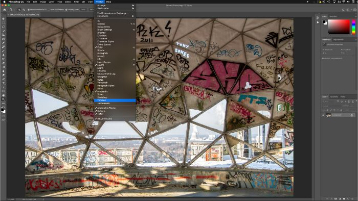 "Screenshot of the ""window"" tab open in Photoshop"
