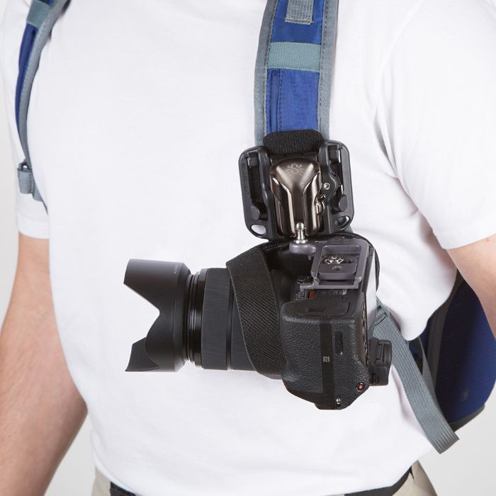 Close up of a man wearing the SpiderLight Backpacker Bag Holster