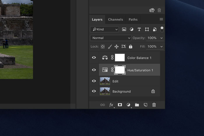 Screenshot of layers in Photoshop