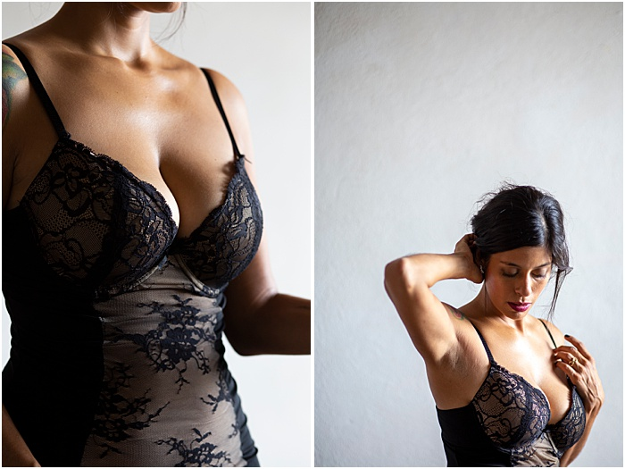 Close-up boudoir photos of a woman in a bodysuit