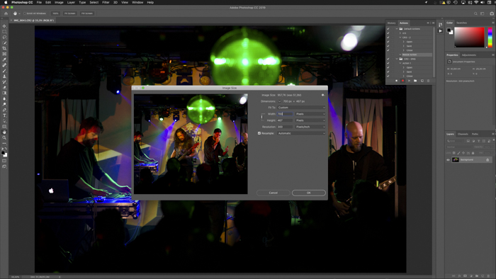 Image resizing for Batch Editing Images in Photoshop