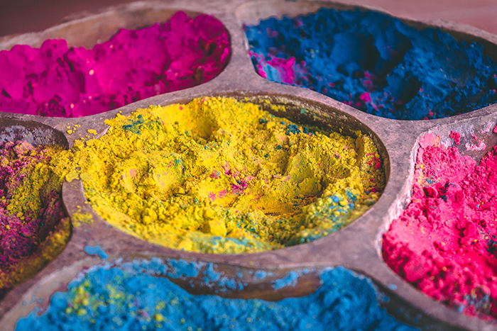 Photo of flour in various colours to make powder for photography