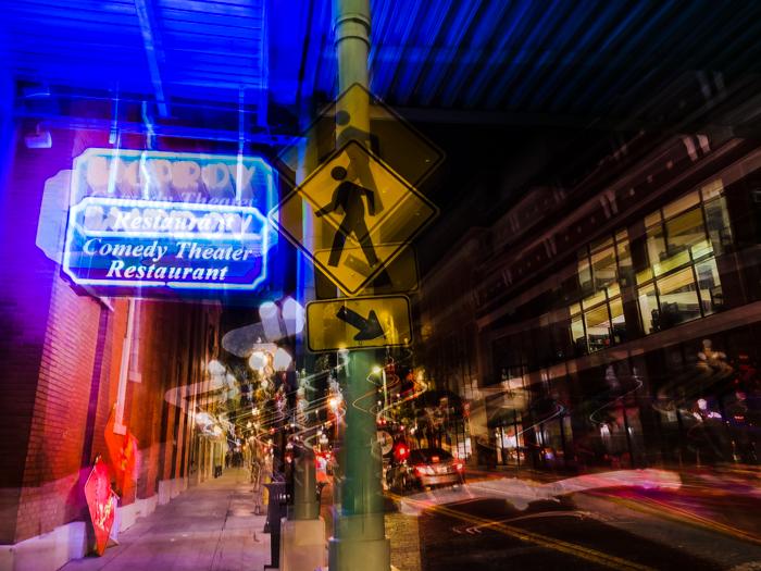 Nighttime long exposure photo of a street