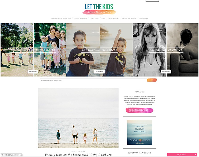 Screenshot of the family photography blog Let the kids