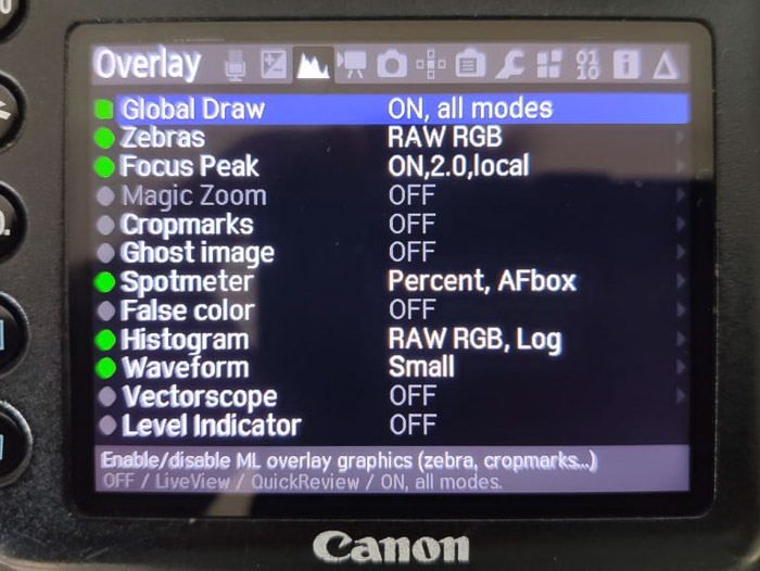 Choosing global draw from the Magic Lantern settings on the Canon DSLR screen