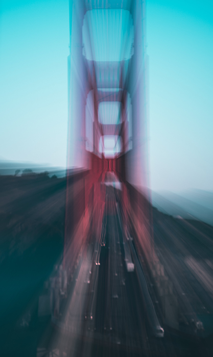 Motion blur photo of the Golden Gate Bridge
