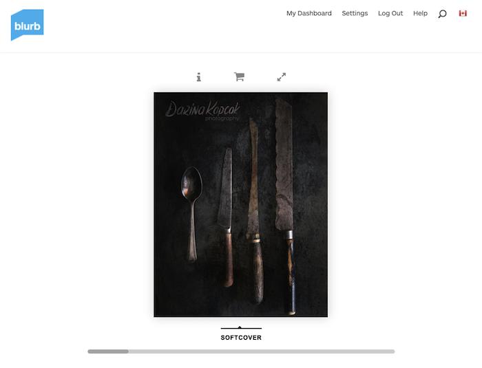 Photo of utensils in Blurb software