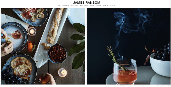 Two still life photos of food and beverages by James Ransom