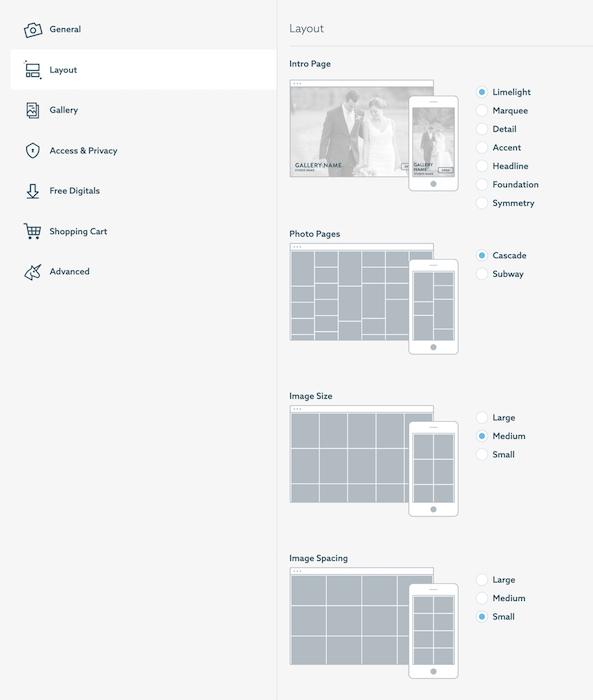 A screenshot of Shootproof website gallery interface